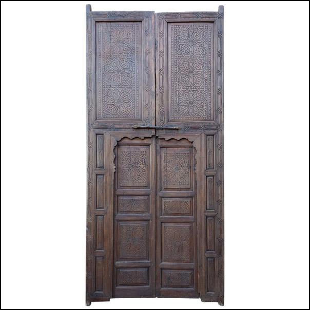Moroccan Hand-Carved Double Door, Berber Style