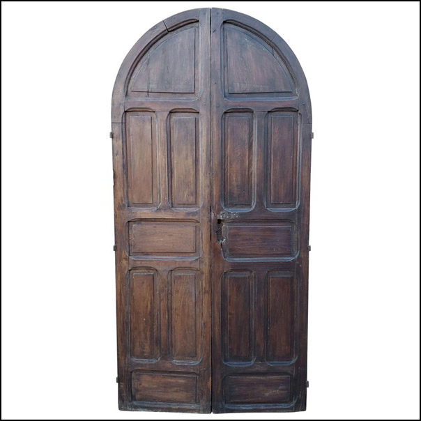 Double Panel Arched Moroccan Wooden Door