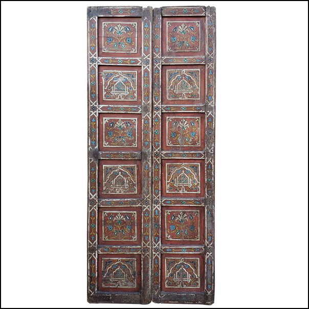 Double Panel Moroccan Multicolor Wooden Door