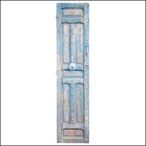 Single Panel Moroccan Wooden Door, Light Blue