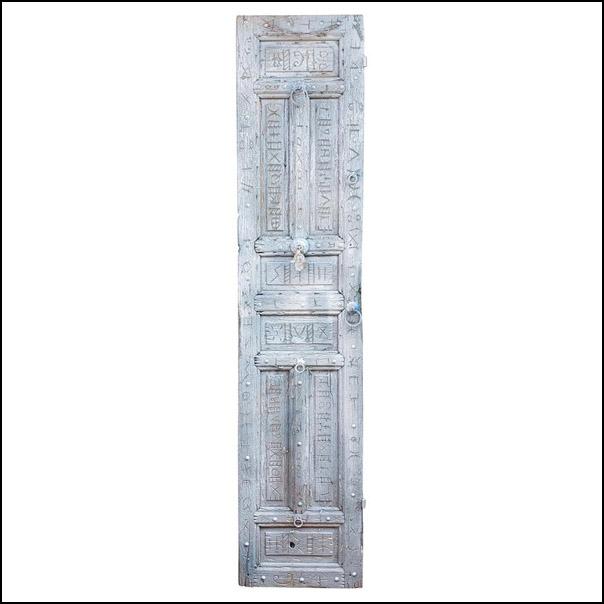 Single Panel Moroccan Wooden Door, Light Silver