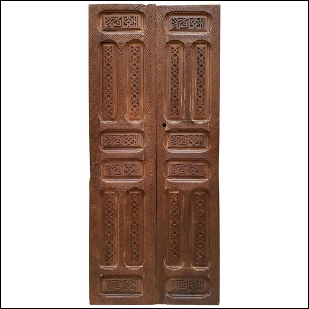 Double Panel Moroccan Wooden Door, Brown