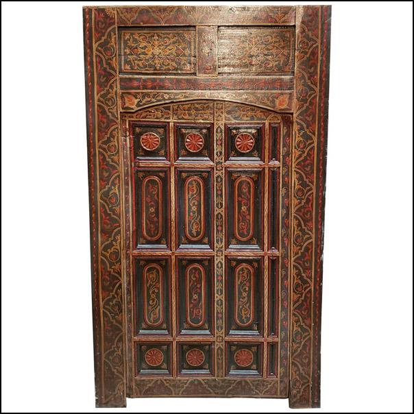 Old Multi-Color Moroccan Wooden Door