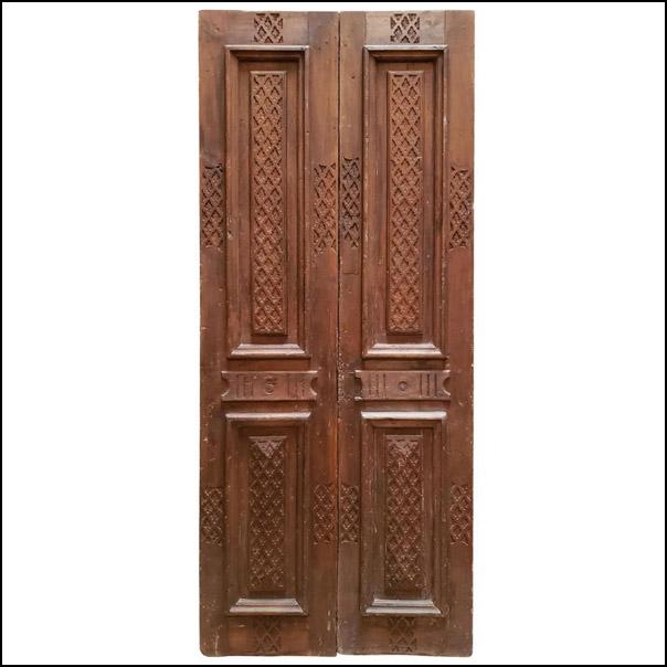 Double Panel Moroccan Wooden Door, Light Brown