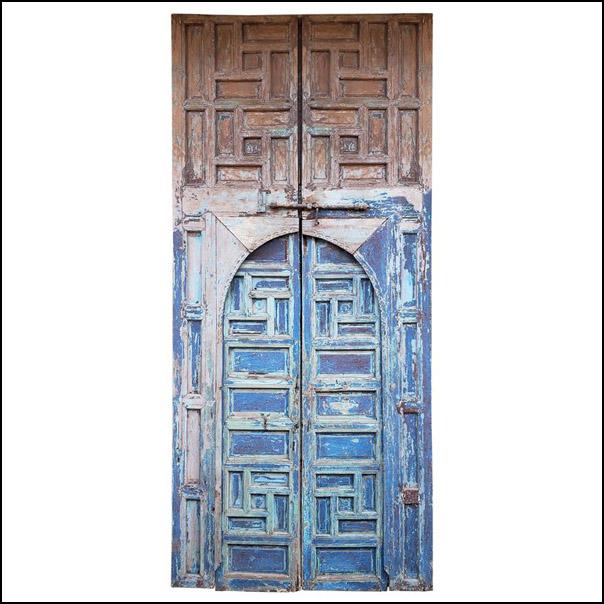 Moroccan Old Hand Painted Double Door, Wooden