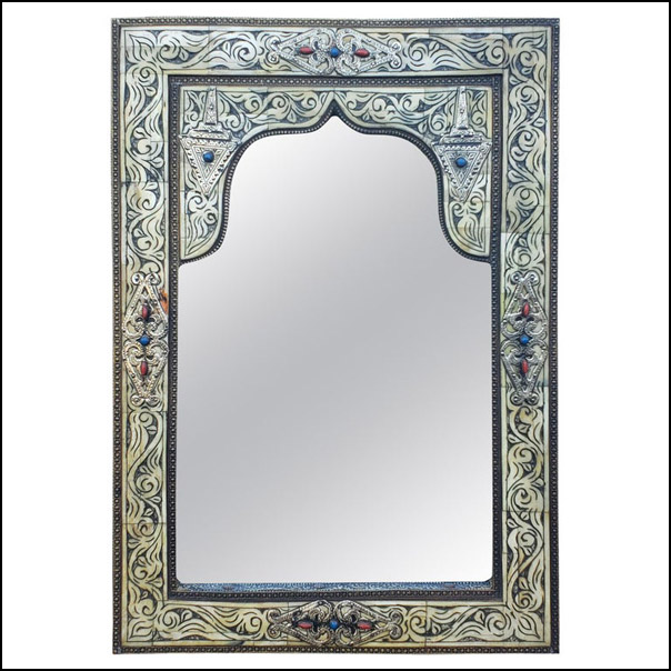 Moroccan White Camel Bone Mirror, MD27SM Rectangular