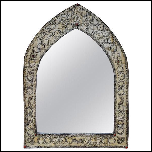 Moroccan White Camel Bone Mirror, Dome Shape