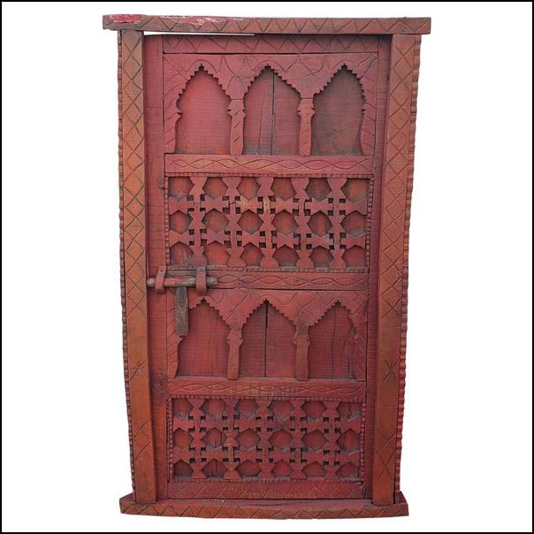 Distressed Moroccan Burgundy Door/ Gate/ Shutter