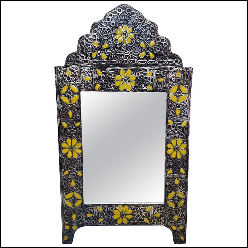 Ultra Arched Moroccan Metal Inlaid Mirror, Rabat, Yellow Motif