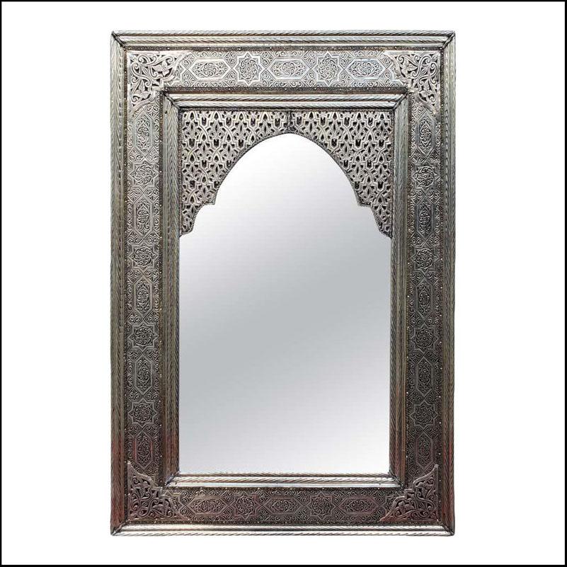 Small to Medium Rectangular Moroccan Metal Inlaid Mirror, 112LM24
