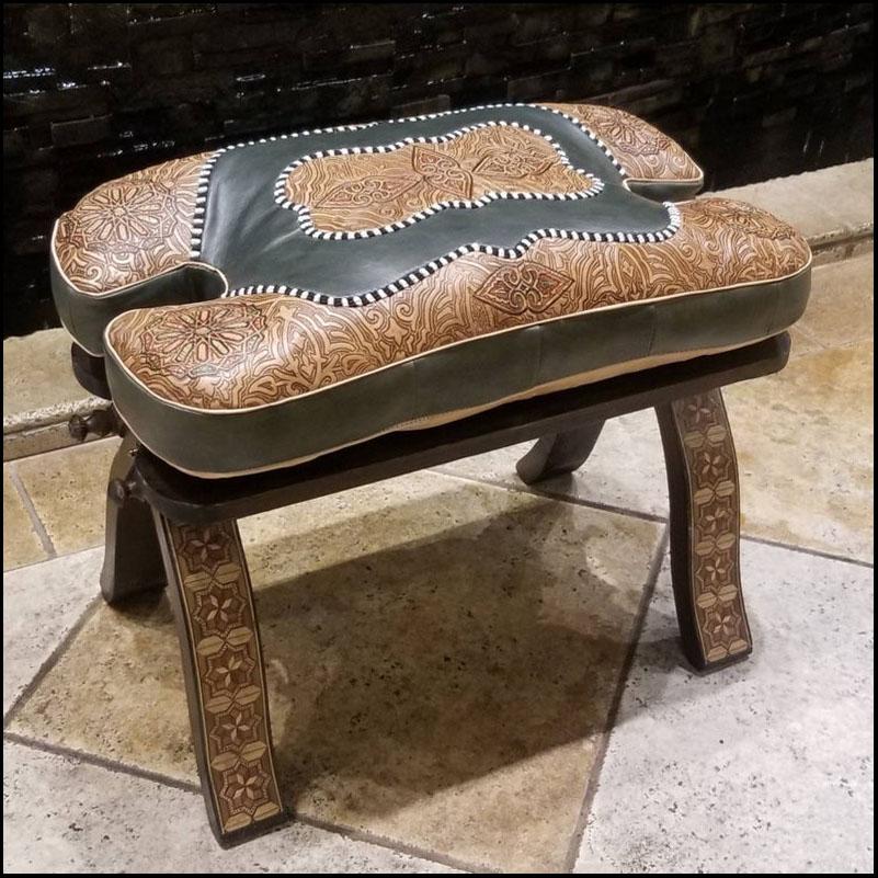 Grey / Tan Moroccan Camel Saddle – Carved Base