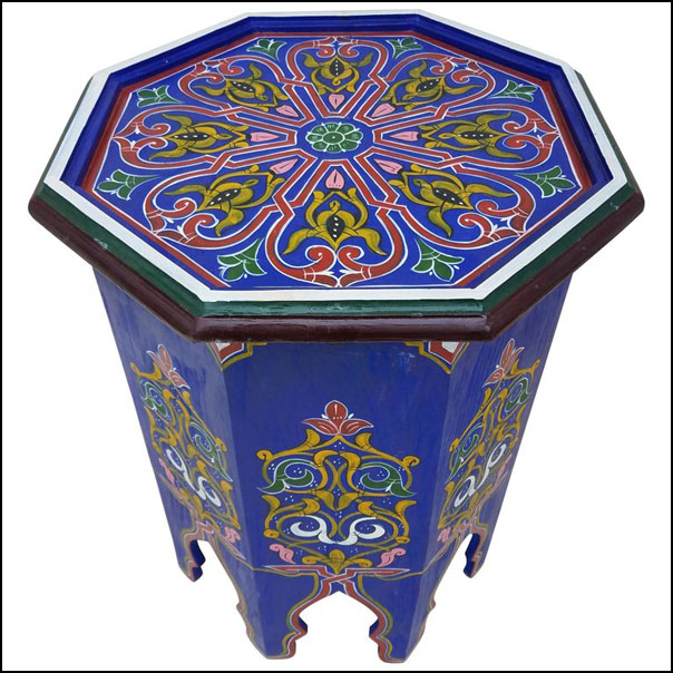 Simple Moroccan Hexagonal Wooden End Table, Blue