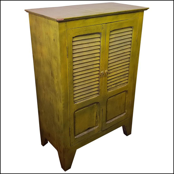 Handpainted Moroccan Cabinet Using Old Yellow Window Shutters