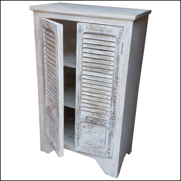 Handpainted Moroccan Cabinet Using White-Washed Window Shutters
