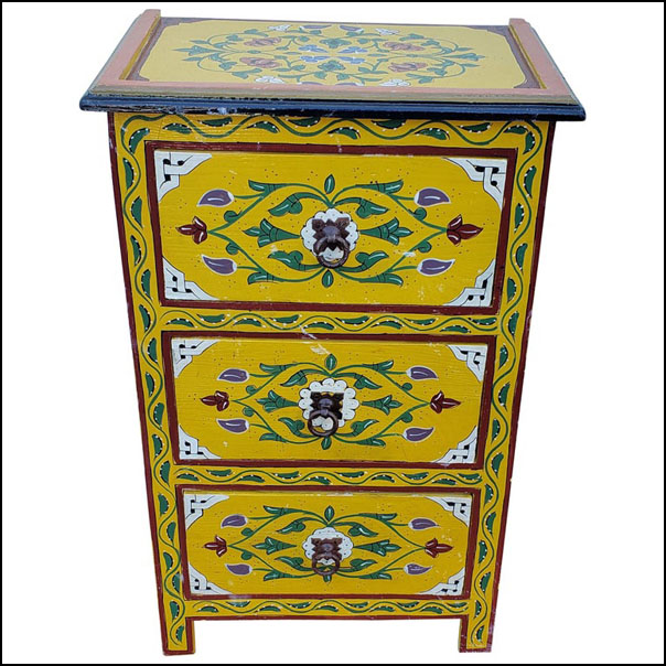 Moroccan Hand Painted Wooden Nightstand, MAR1LM23