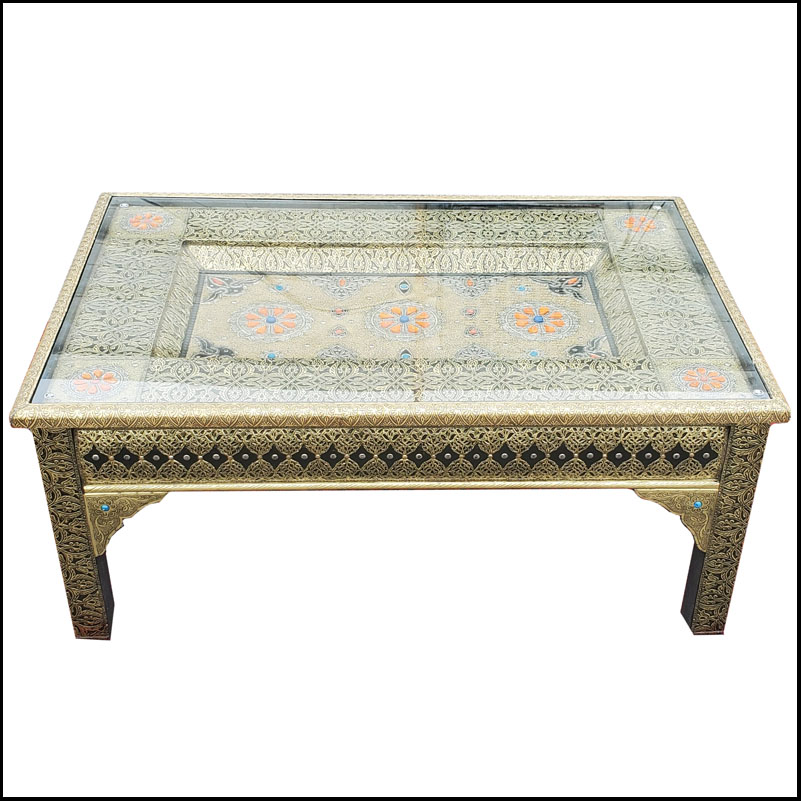 Moroccan Metal Inlaid Coffee Table – 01LM24