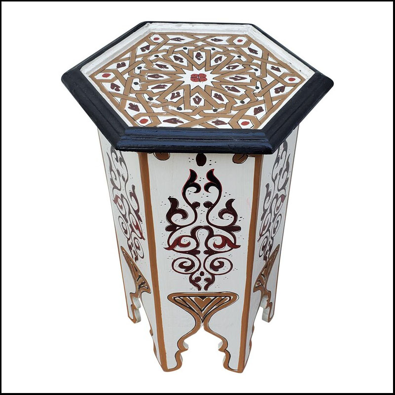 Moroccan Hexagonal Hand Painted Wooden Side Table, White
