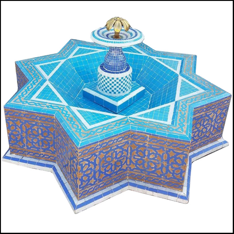Star Shape Turquoise Moroccan Mosaic Fountain – Marrakech