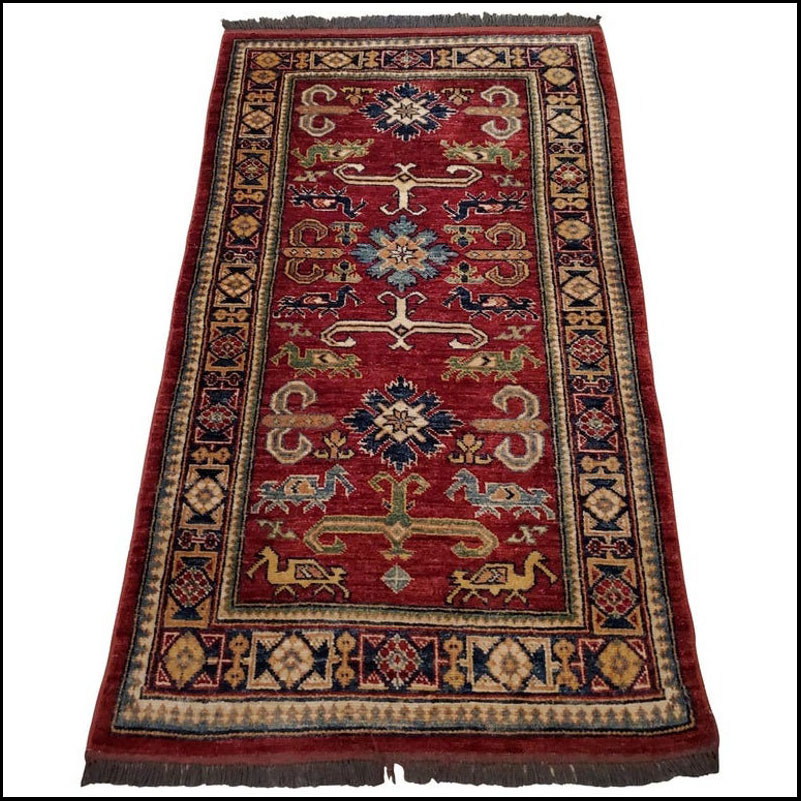 Medium Size Asian Area Rug, Colorful / 10NO
