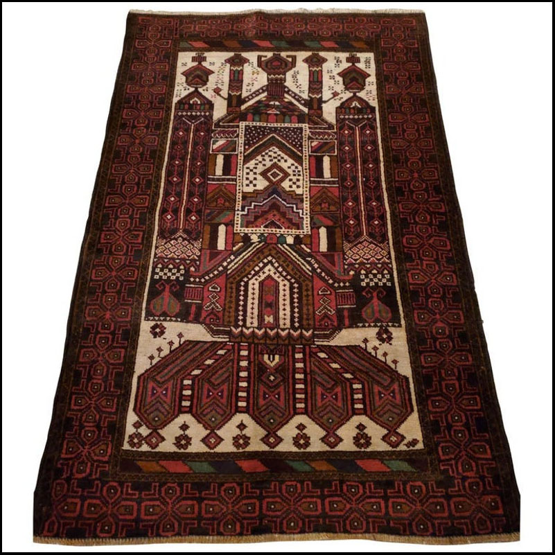 Medium to Large Size Afghan Area Carpet / Rug, Colorful / 372