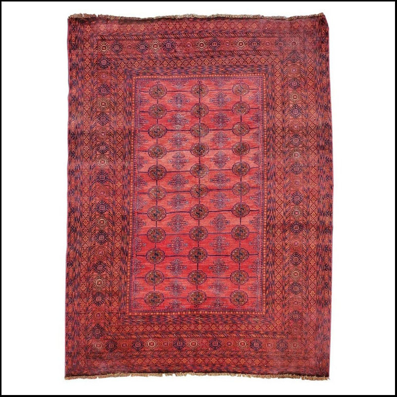 Burgundy Area Rug from Afghanistan, Colorful / 005
