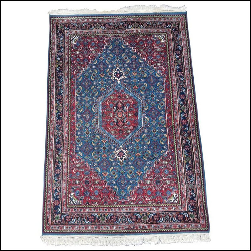 Stunning Persian Blue & Red Wool Rug – 4′ × 6′
