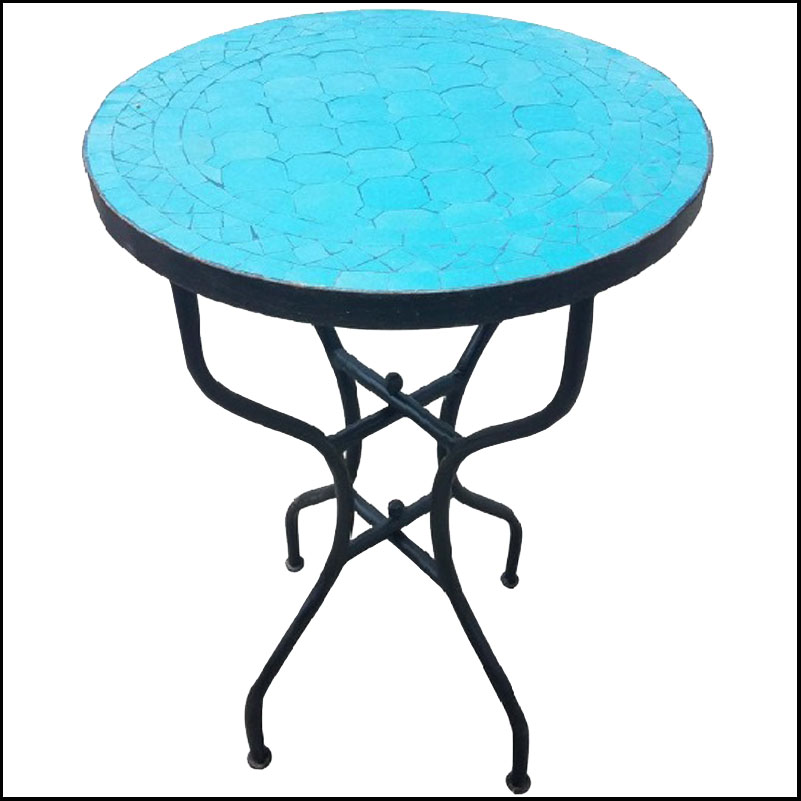 20″ All Turquoise Moroccan Mosaic Table