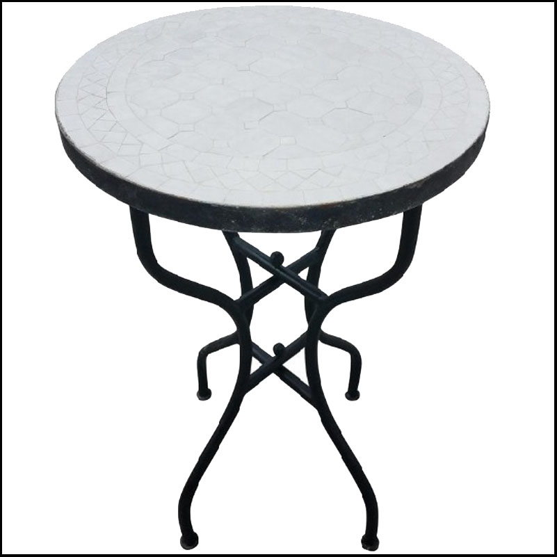 20″ All White Moroccan Mosaic Table