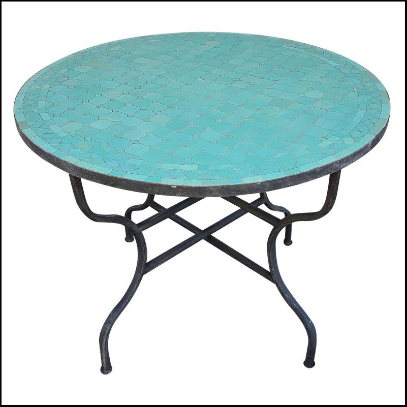 40″ All Aqua Moroccan Mosaic Table