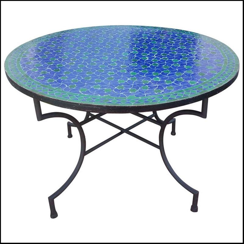 48″ Diam. Blue / Green Moroccan Mosaic Table – Rafraf