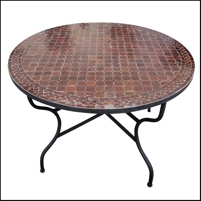 48″ Diam. Chocolate Brown Moroccan Mosaic Table