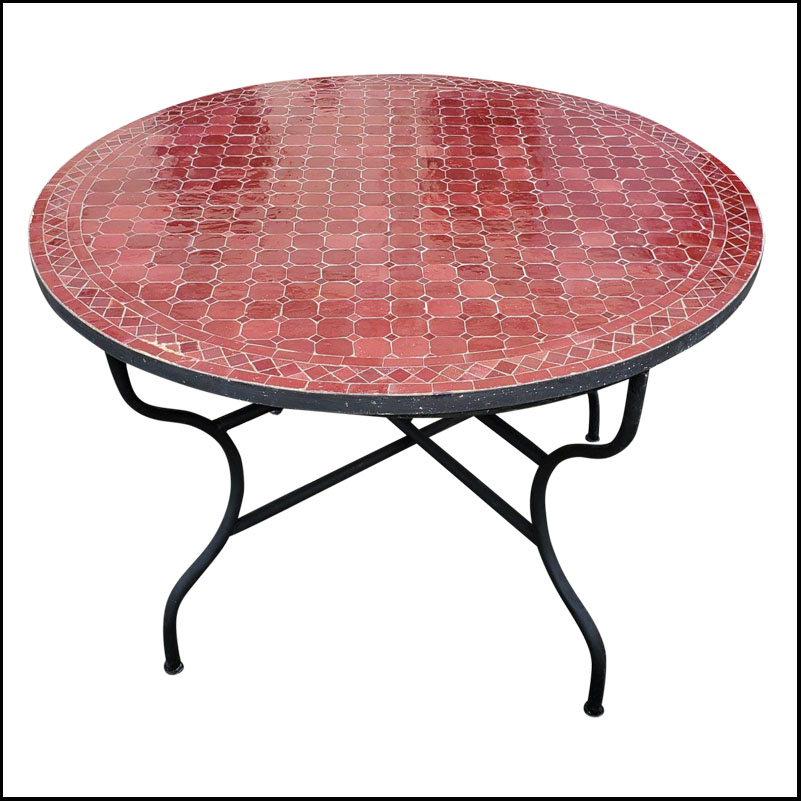 48″ Diam. Wine Burgundy Moroccan Mosaic Table