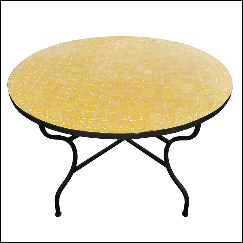 48″ Diam. Lemon Yellow Moroccan Mosaic Table