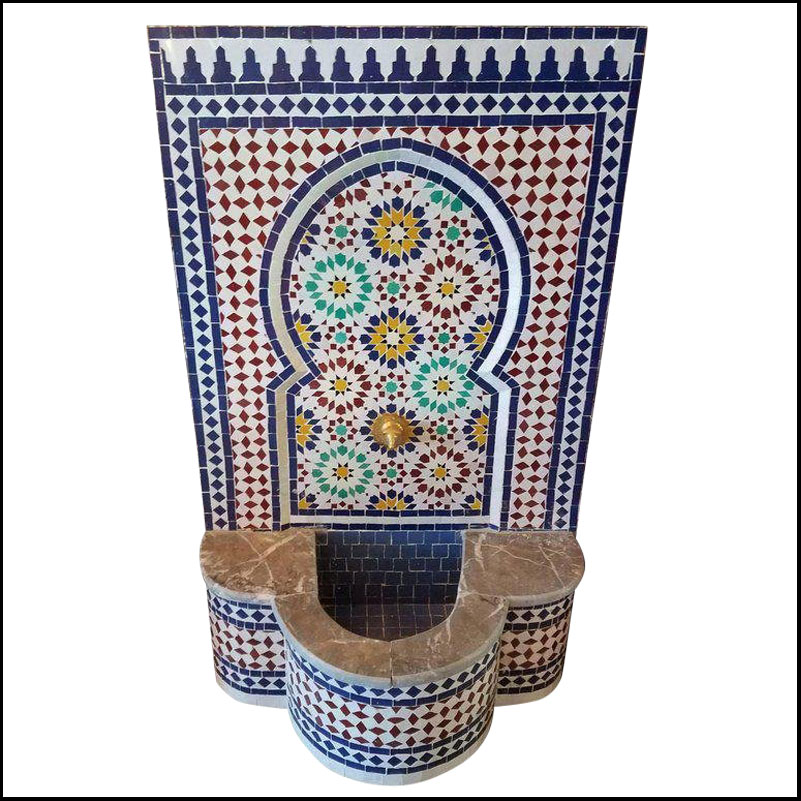 Marble Border Moroccan Mosaic Fountain