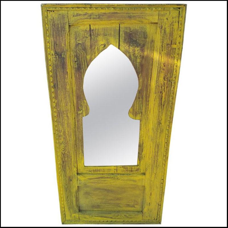Moroccan Repurposed / Distressed Wooden Frame, Mustard