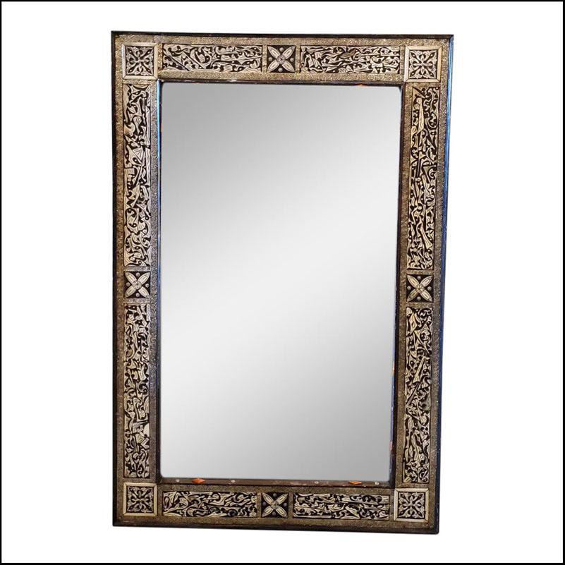 Moroccan Rectangular Black And White Camel Bone Mirror, 113LM24