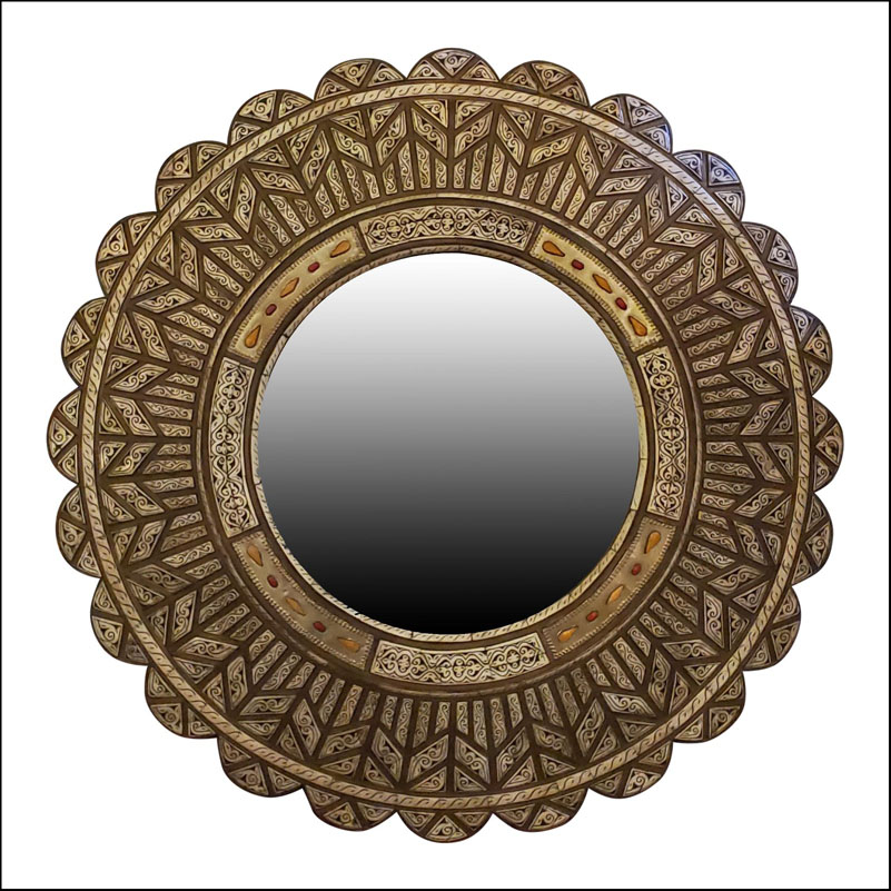 Extra large camel bone inlay Moroccan round shape mirror