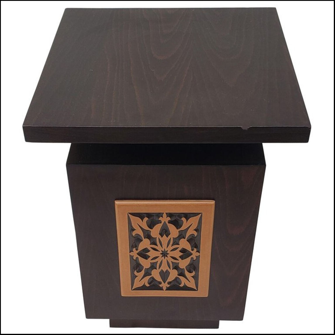 Moroccan Contemporary Wooden Side Table, Square