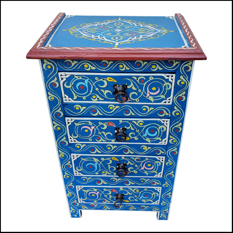 Moroccan Hand Painted Wooden Nightstand, Blue 2