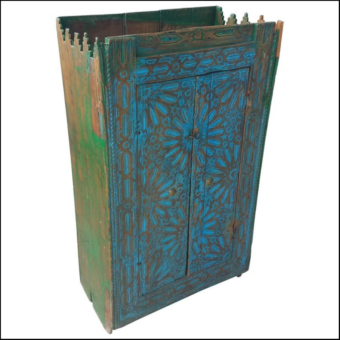 Very Old Moroccan Wooden Cabinet, Turquoise