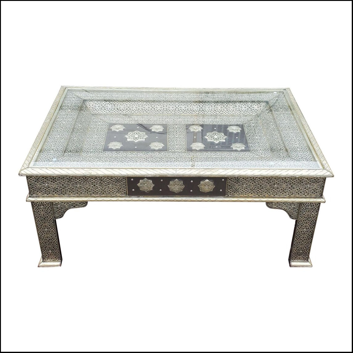 Moroccan Metal Inlaid Coffee Table, Silver Look