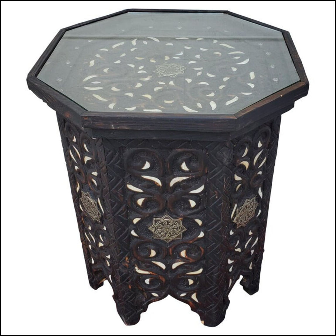 Moroccan Octagonal Wooden Side Table, Metal And Camel Bone Inlay