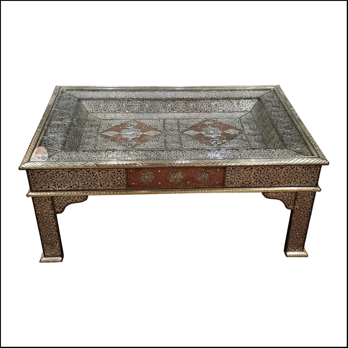 Moroccan Metal Inlaid Coffee Table
