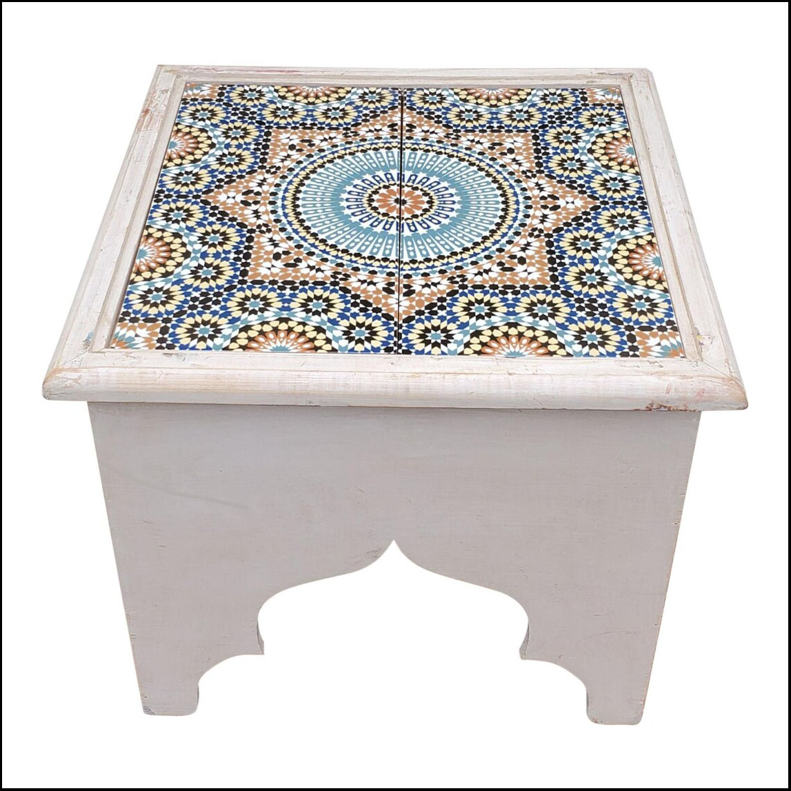 White Moroccan Wooden Side Table, Tile Top