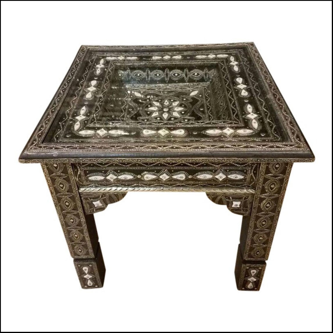 Metal / White Camel Bone Inlaid Moroccan Side Table.