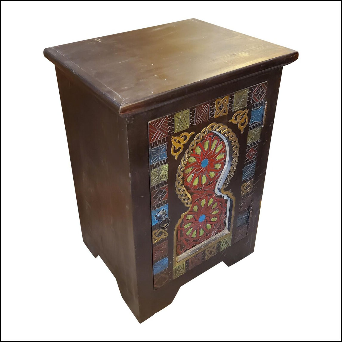 Moroccan Hand Painted Nightstand, Multicolor Carving
