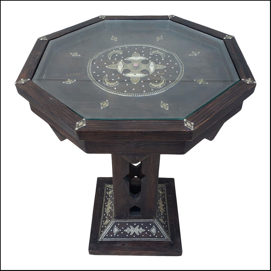 Pedestal Metal Inlaid Moroccan Wooden Side Table.