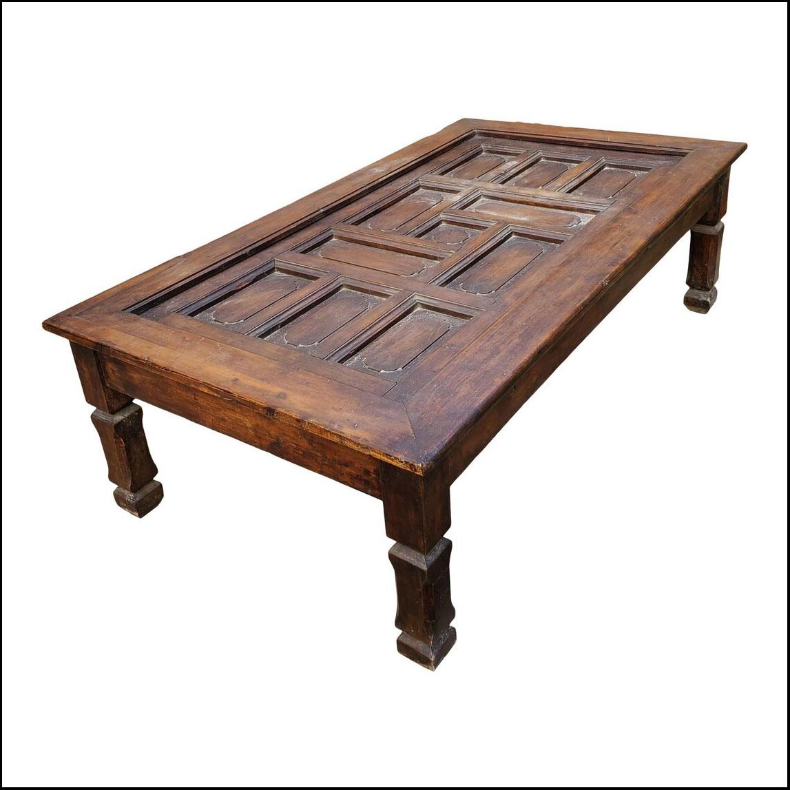 Moroccan Carved Coffee Table, Door Panel Look