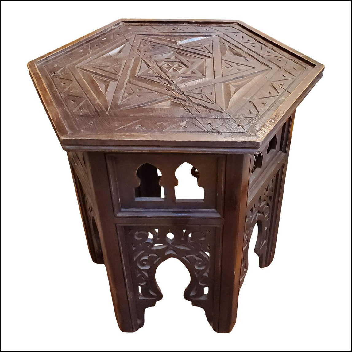 Moroccan Hexagonal Wooden Side Table