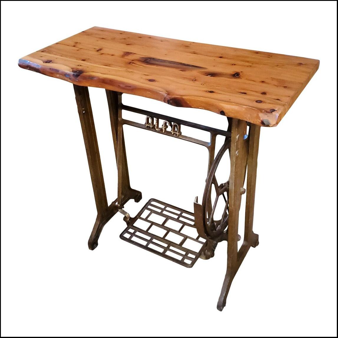Antique Alfa Sewing Machine – Work Table – Vintage Cedar Wood Top